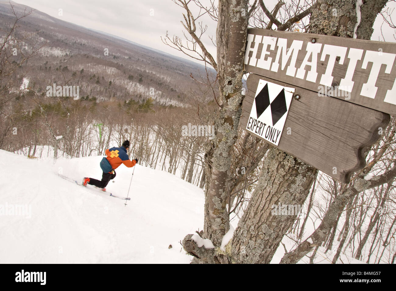 A Telemark Skier Enters Double Black Diamond Run For Experts Only At Mount Bohemia Ski Resort In Michigans Upper Peninsula