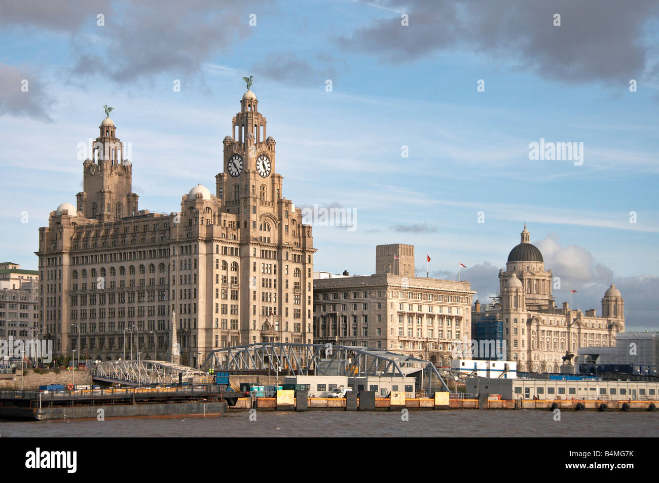 Royal Liver Buildings, Cunard Building and the Port of Liverpool Building, also known as 'The Three Graces'. - Stock Image