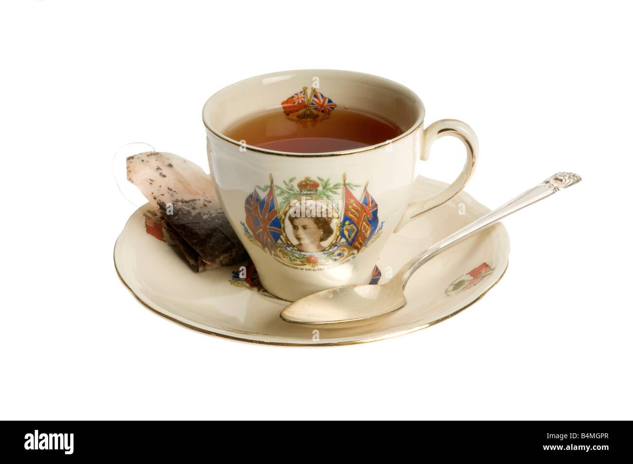 coronation tea cup of queen elizabeth II - Stock Image