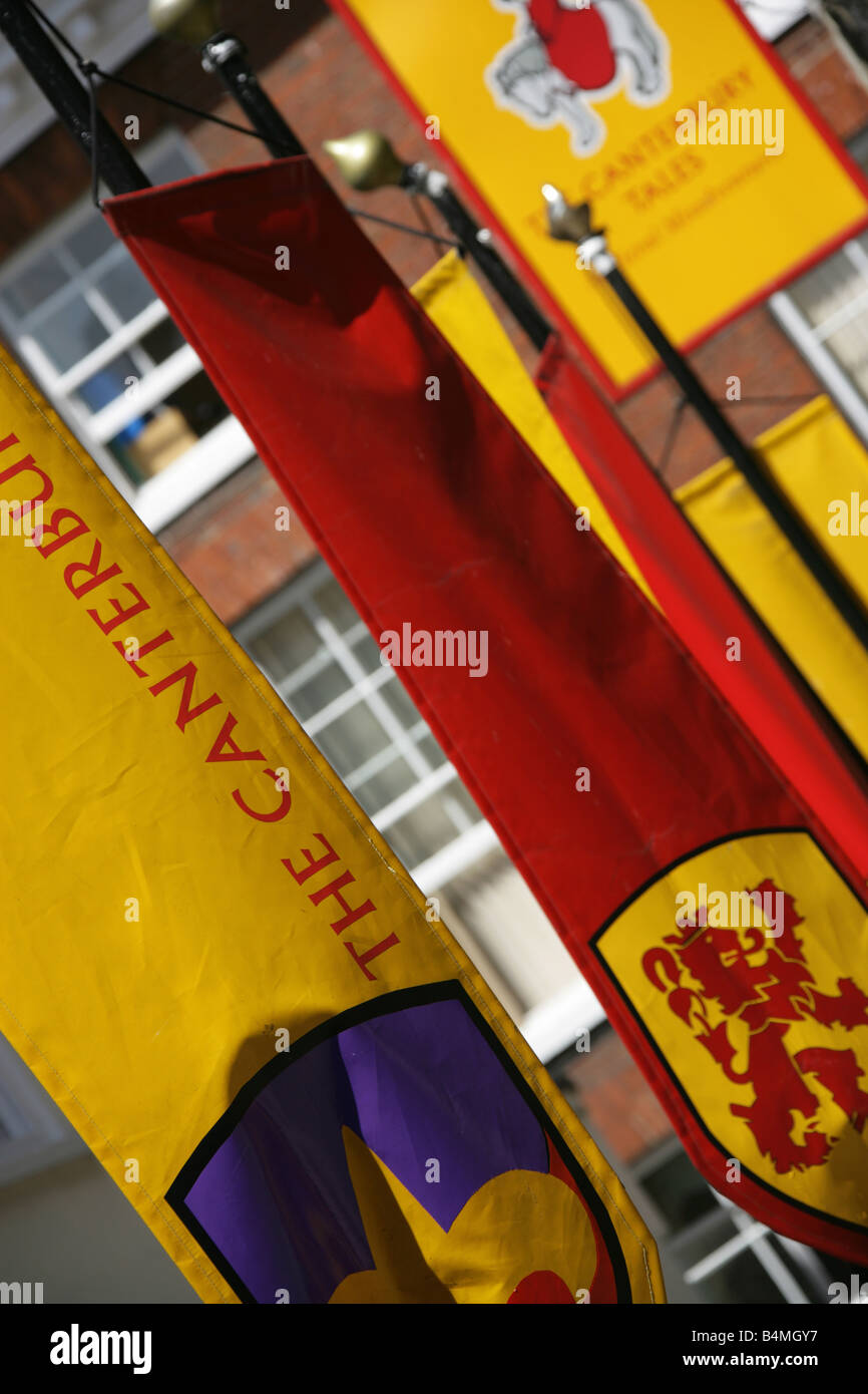 City of Canterbury, England. The banners outside the Canterbury Tales Museum dedicated to Geoffrey Chaucer's Canterbury - Stock Image