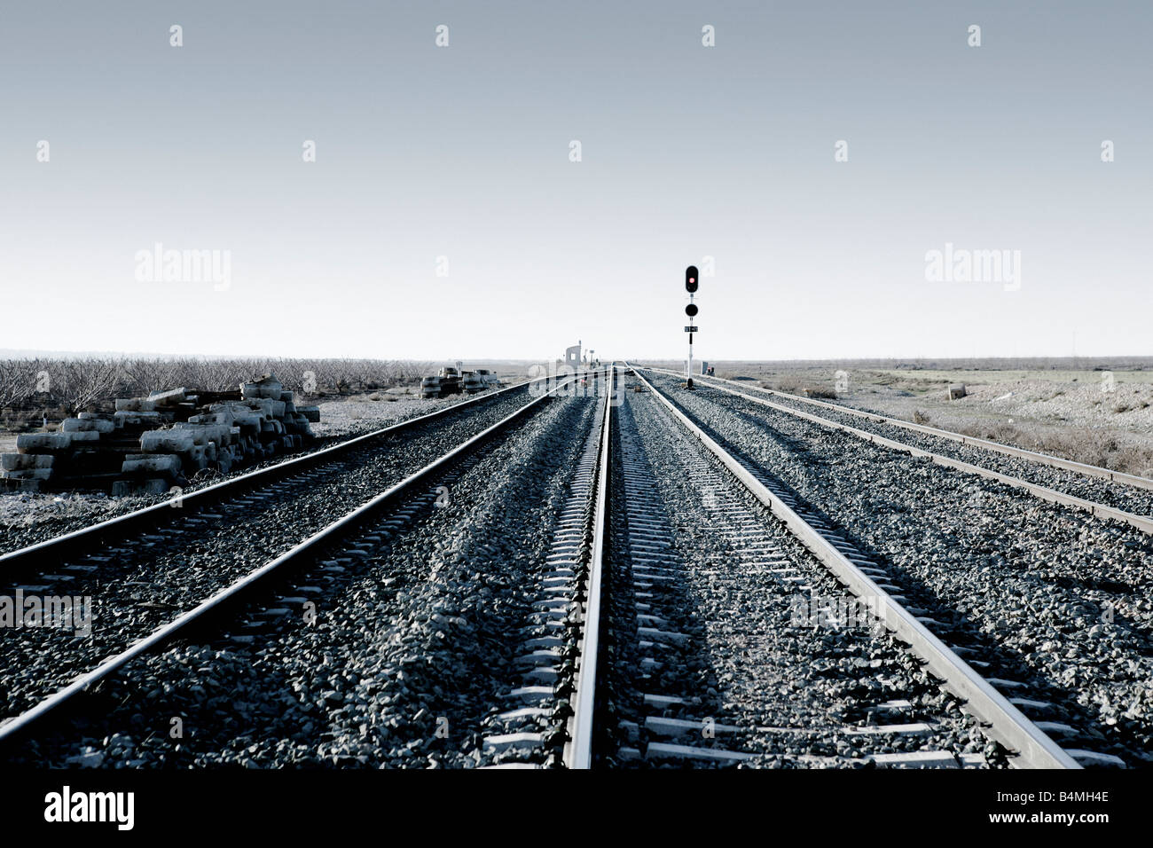 An empty railway track - Stock Image