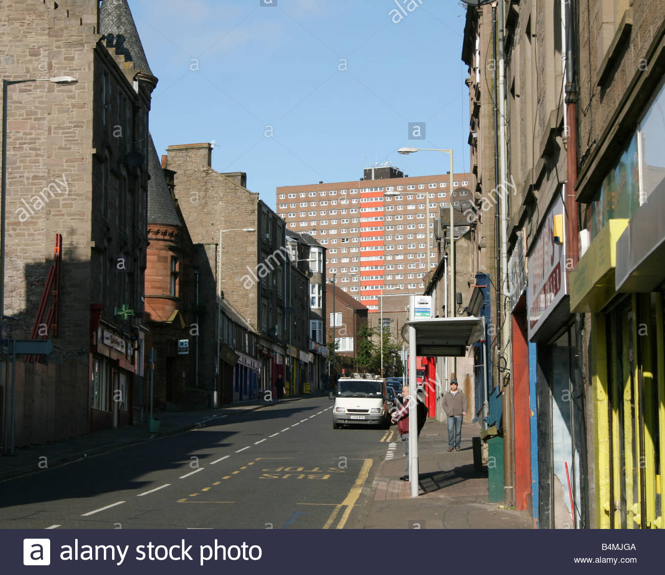 view along Strathmartine Road to Bucklemaker Court council housing residential tower block in Dundee, Scotland  - Stock Image