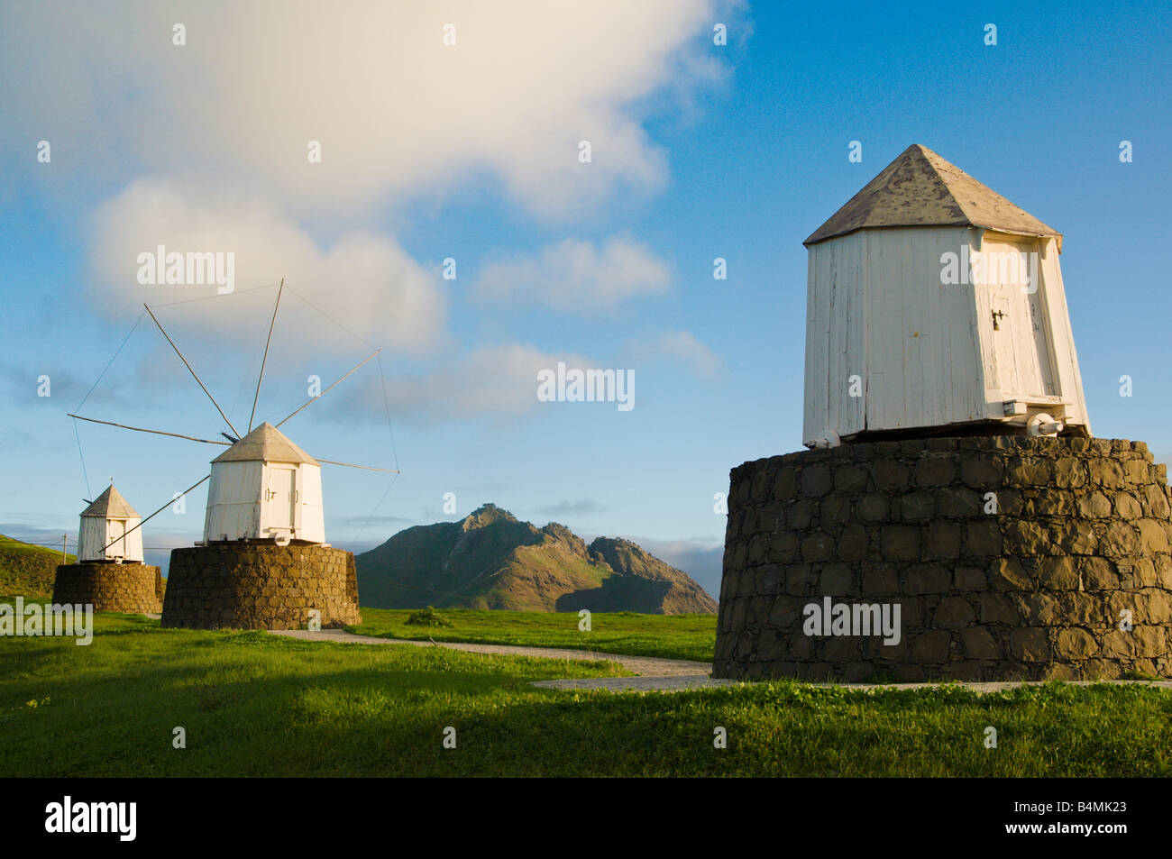 Disused windmills at Partela on Porto Santo the neighbouring island to Madeira - Stock Image