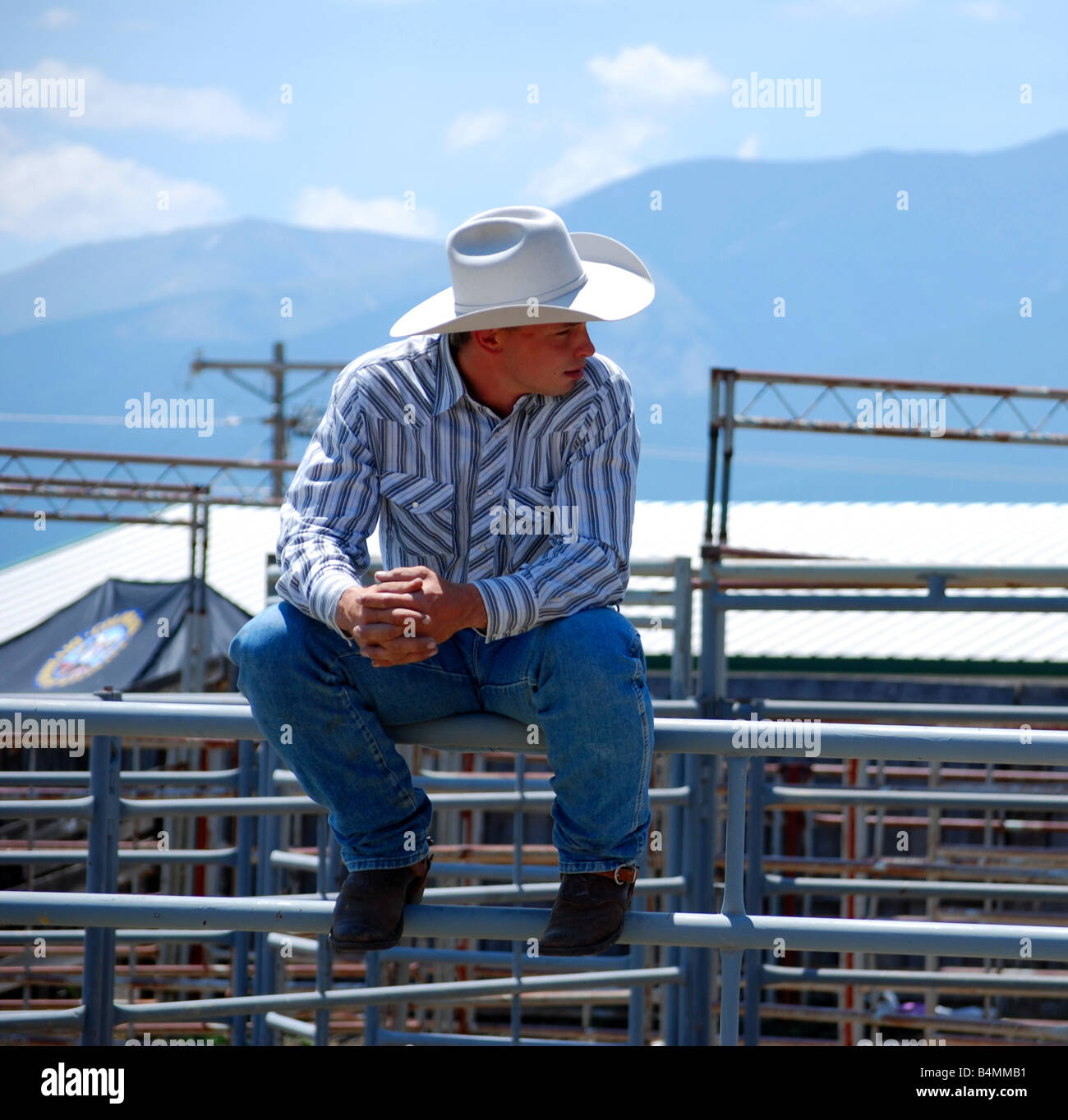 Rodeo cowboy sitting on the rails of a pen - Stock Image