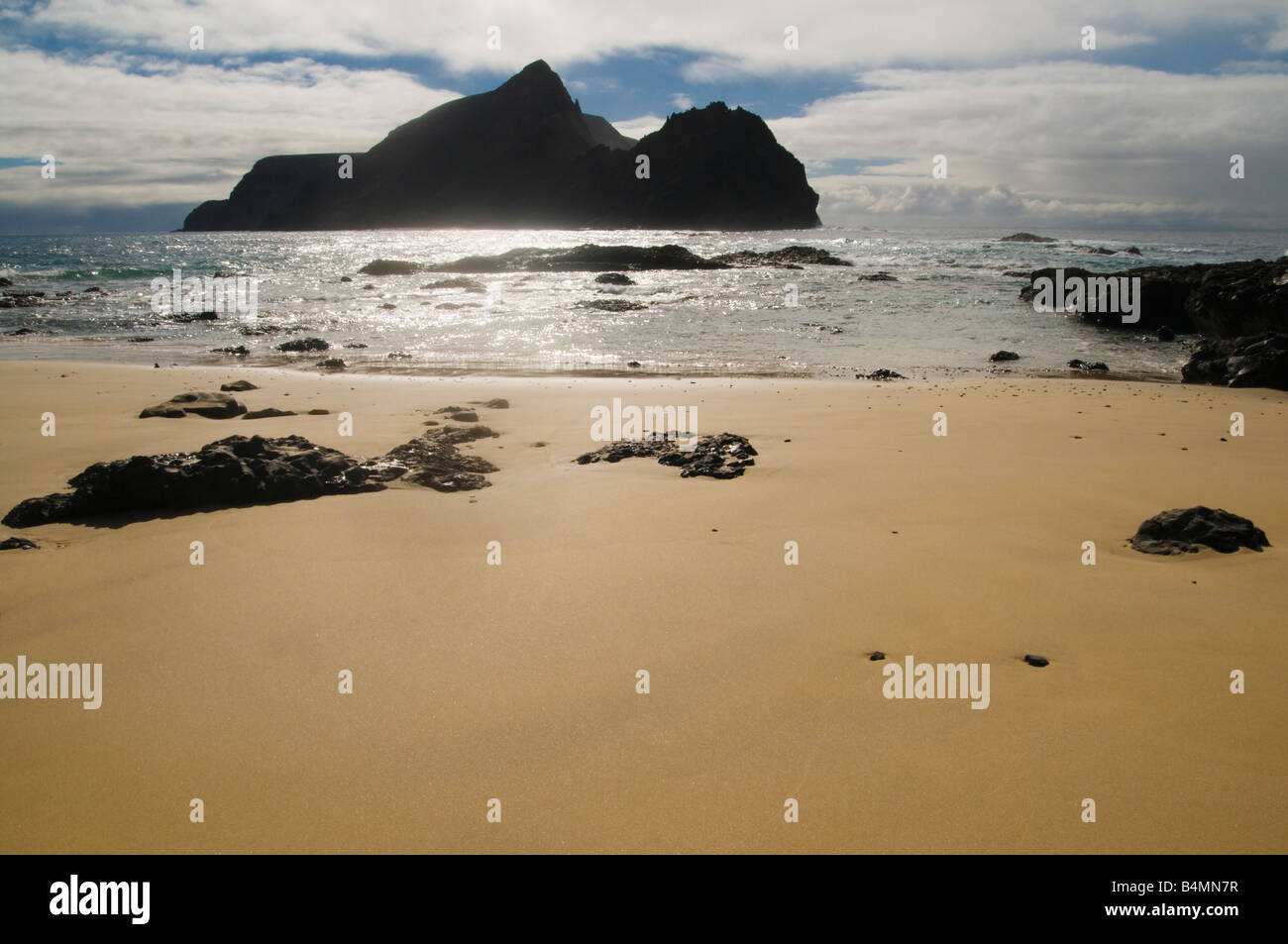 Ilheu de Baixo ou da Cal from Ponta da Calheta the southernmost tip of Porto Santo the neighbouring island to Madeira - Stock Image