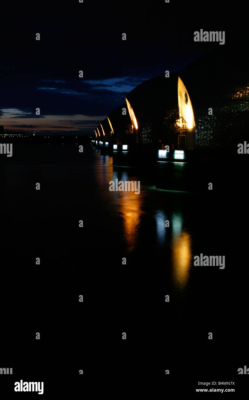 River Thames at the Thames Barrier, Silvertown, London - Stock Image