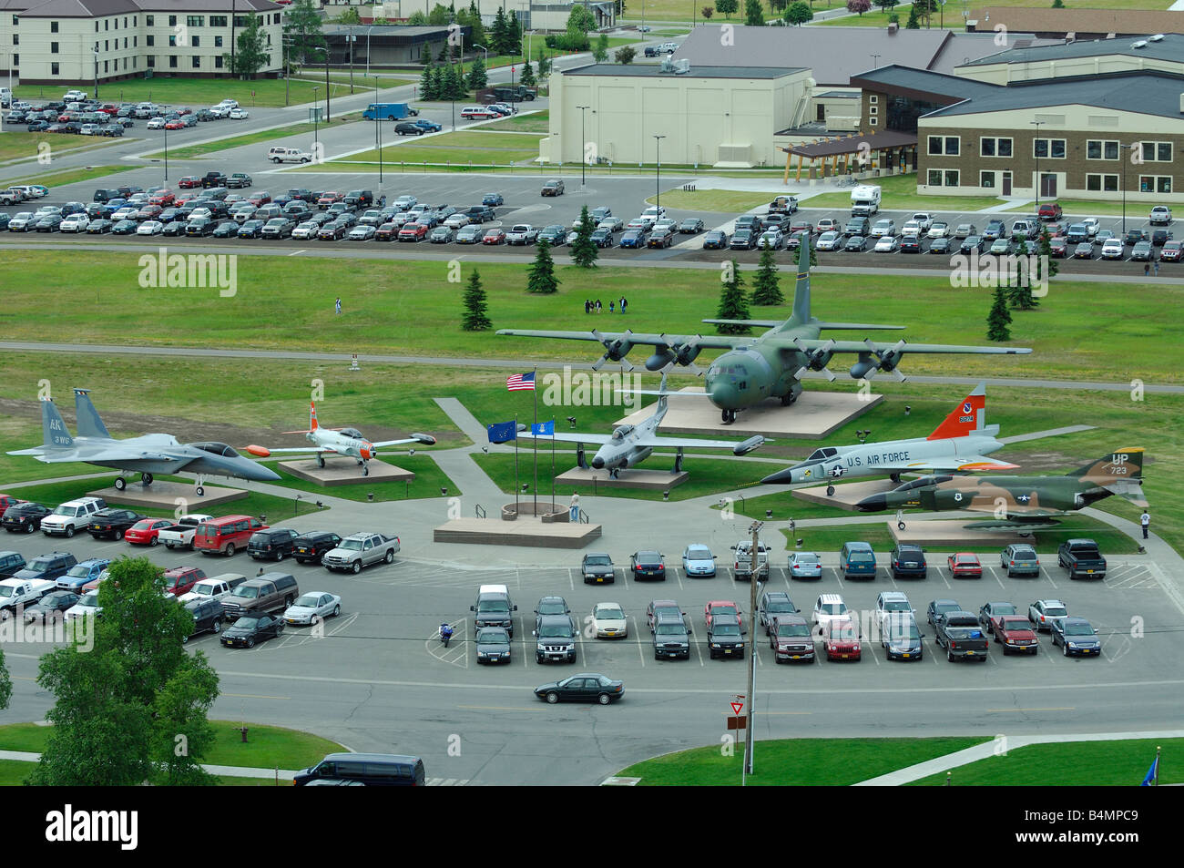 Overview of planes memorial, Elmendorf Air Force Base AFB, Anchorage, Alaska, Usa. - Stock Image