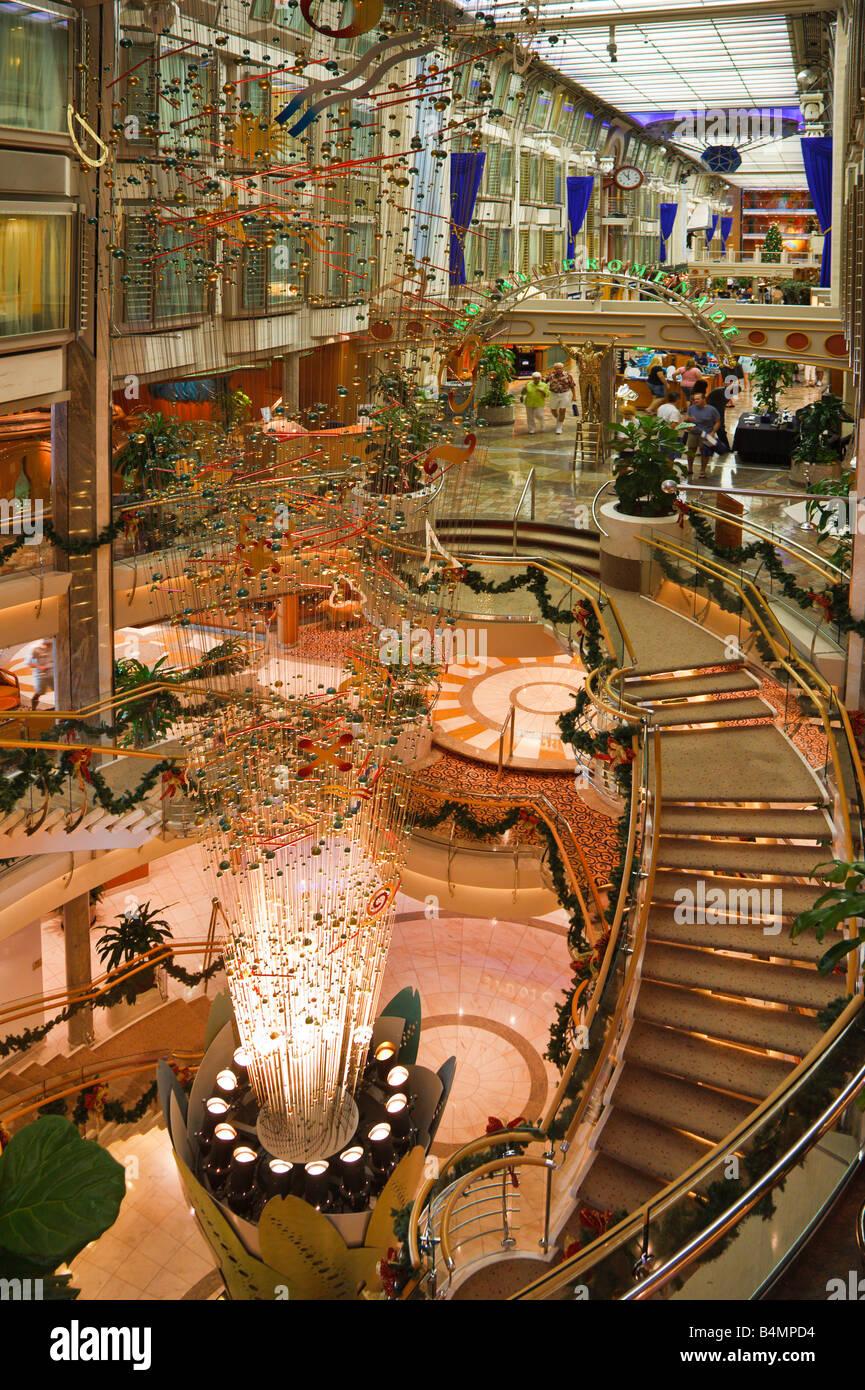 Interior of Royal Caribbean Navigator of the Seas cruise ship near the Royal Promenade - Stock Image