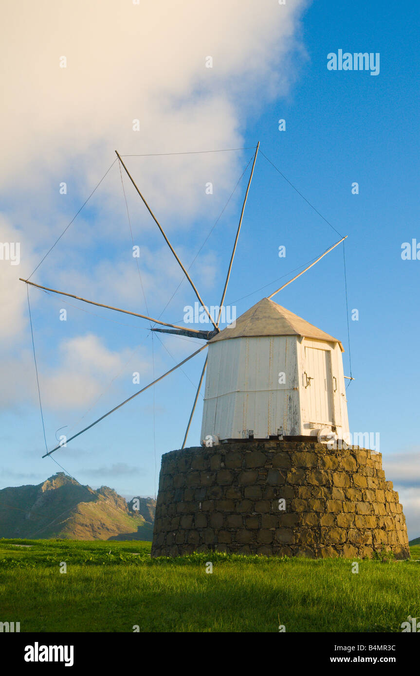Disused windmill at Partela on Porto Santo the neighbouring island to Madeira - Stock Image