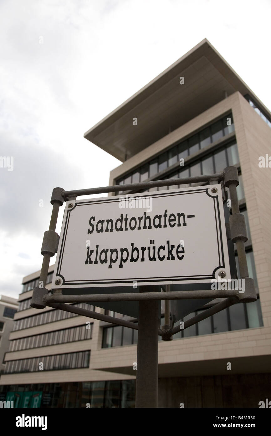 A sign for the Sandtorhafenklappbruecke in the Hafen City area of Hamburg, - Stock Image