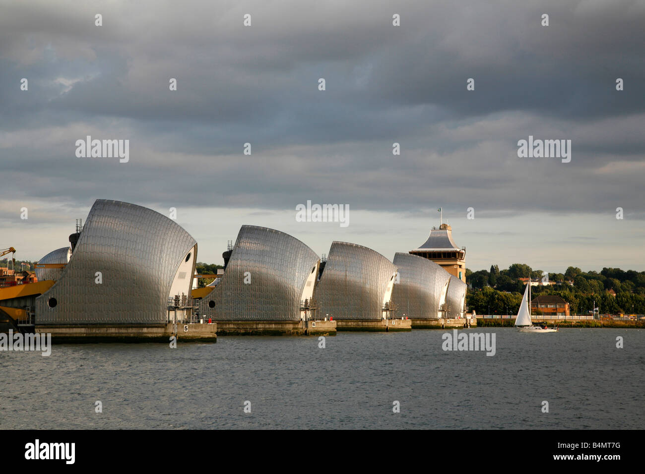 River Thames at the Thames Barrier, Woolwich, London - Stock Image