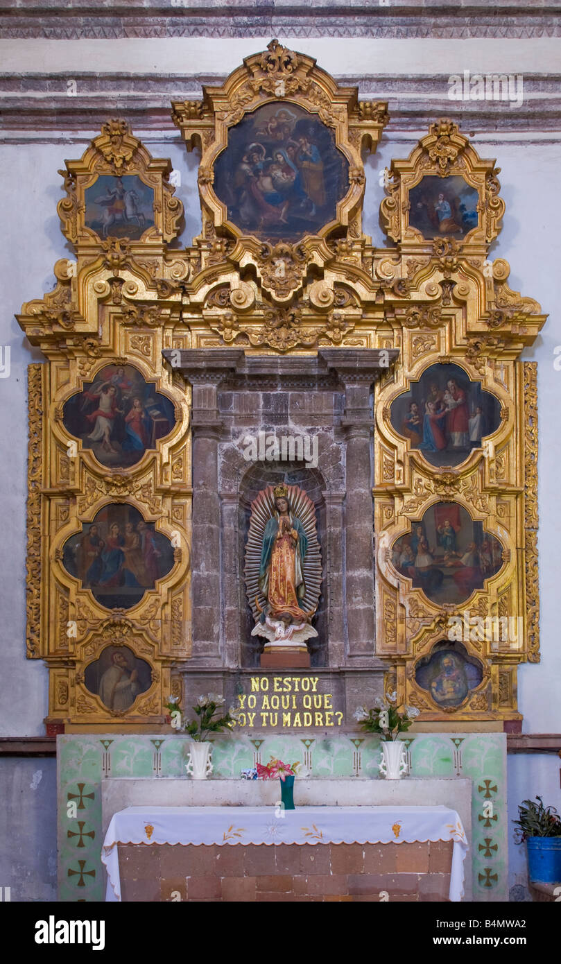 Main altar at Mision San Ignacio Baja California Sur Mexico - Stock Image