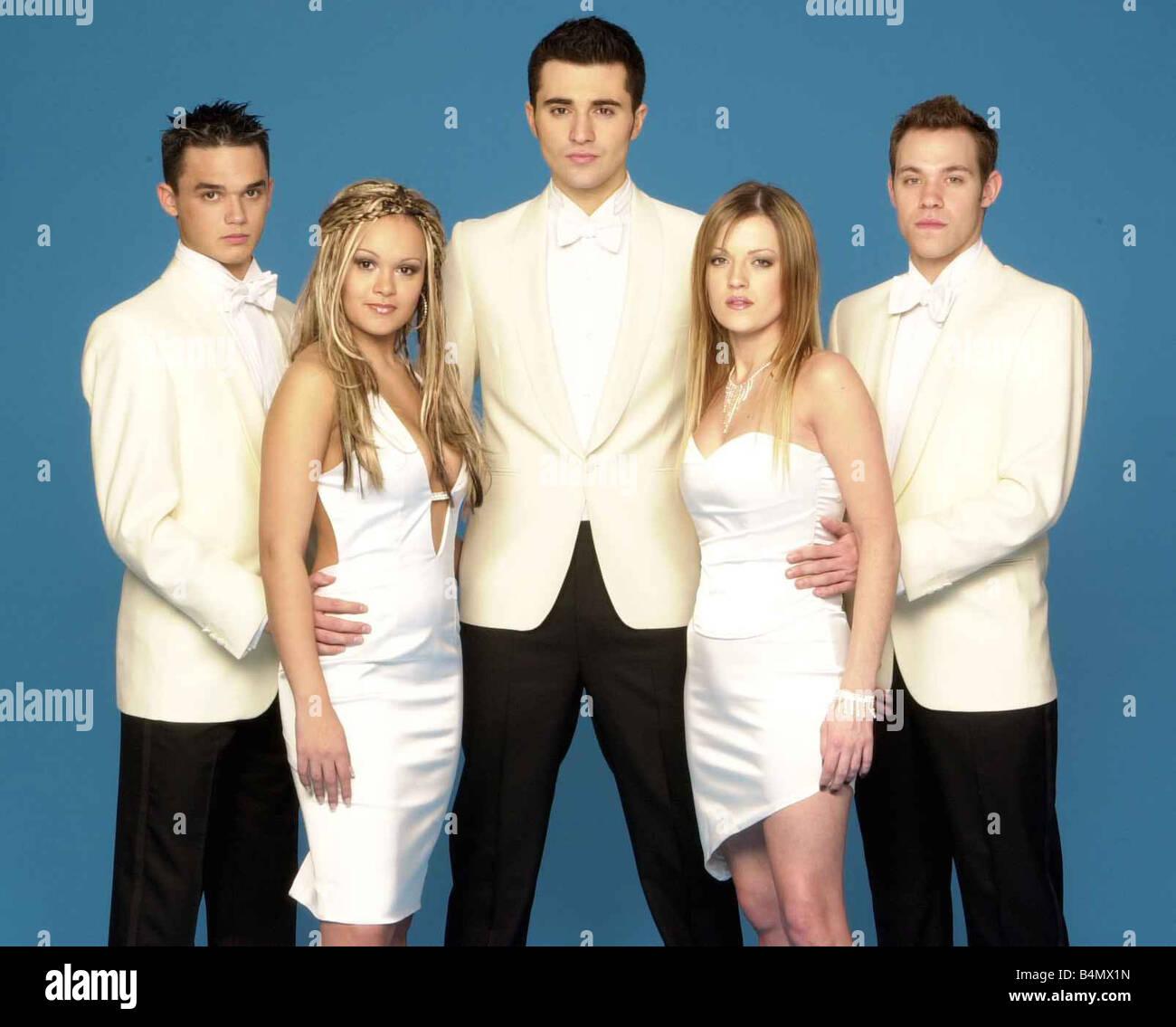 Pop Idol Finalists February 2002 left to right Gareth Gates Zoe Birkett Darius Danesh Hayley Evetts and Will Young - Stock Image