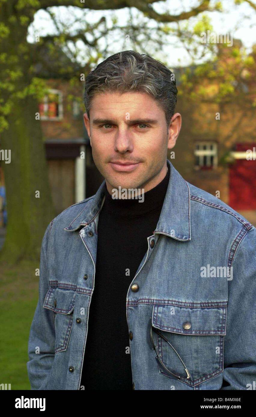Jamie Sanderson April 2002 former boyfriend of Ulrika Jonsson TV Presenter - Stock Image