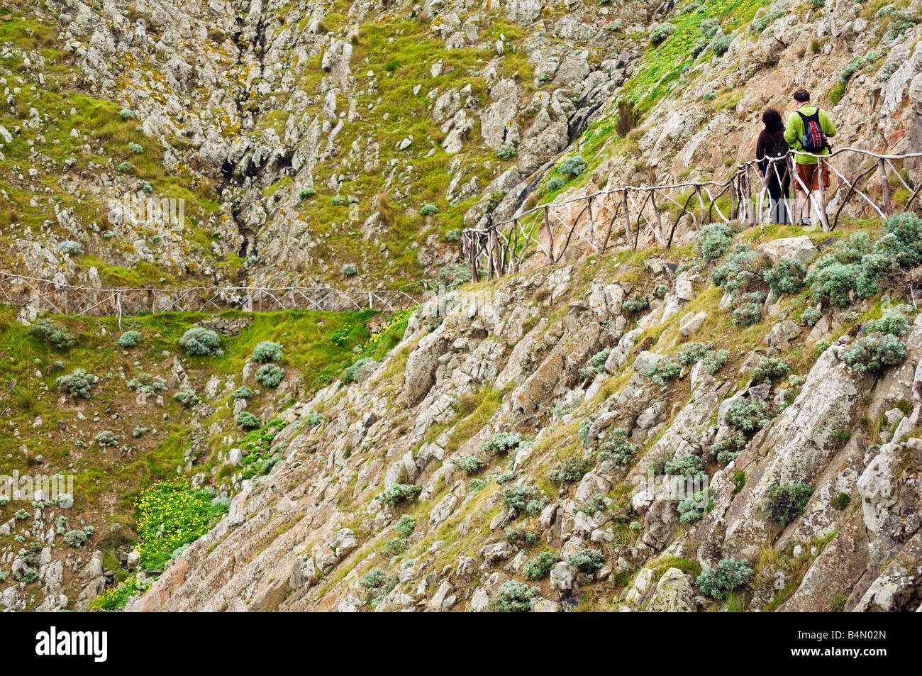 Walkers below Pico Branco on Porto Santo the neighbouring island to Madeira - Stock Image