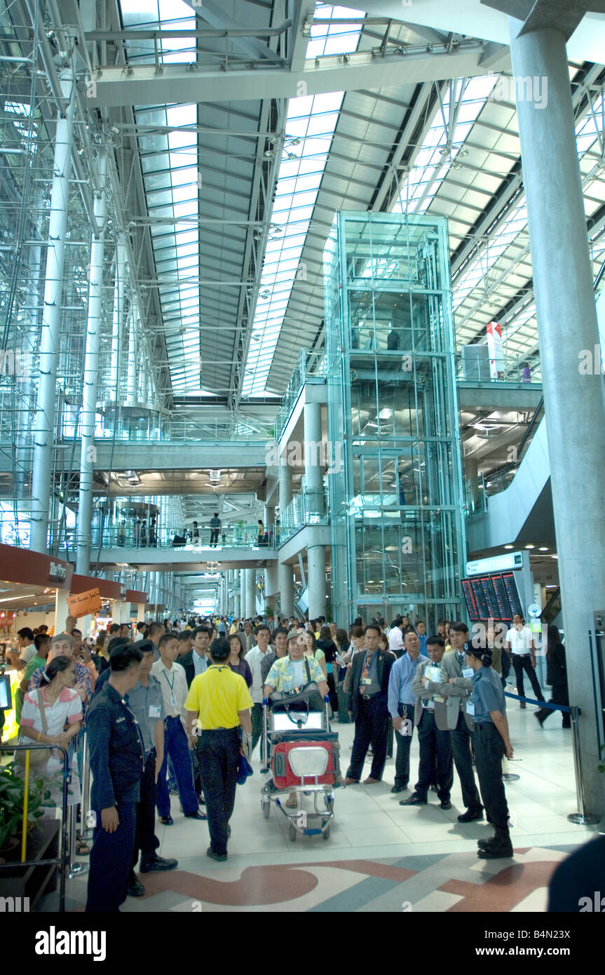 Arrival Area at the New Suvarnabhumi Airport the New Hub of South East Asia - Stock Image