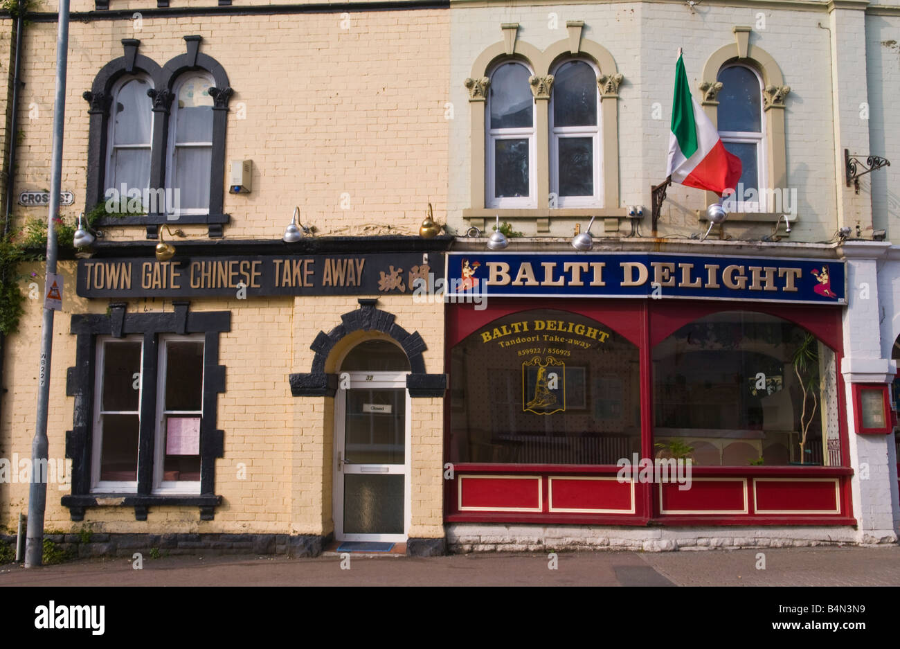 Exterior of Chinese and Balti take away in Abergavenny Monmouthshire South Wales - Stock Image