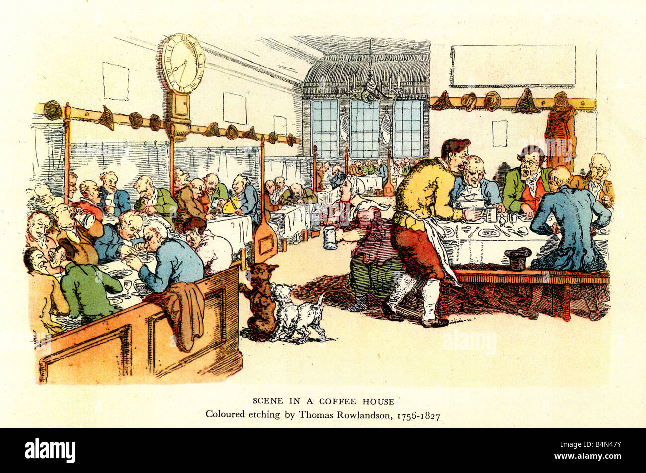 Coffee House by Rowlandson the English caricaturist turns his pen to the centre of London life in the 18th Century - Stock Image