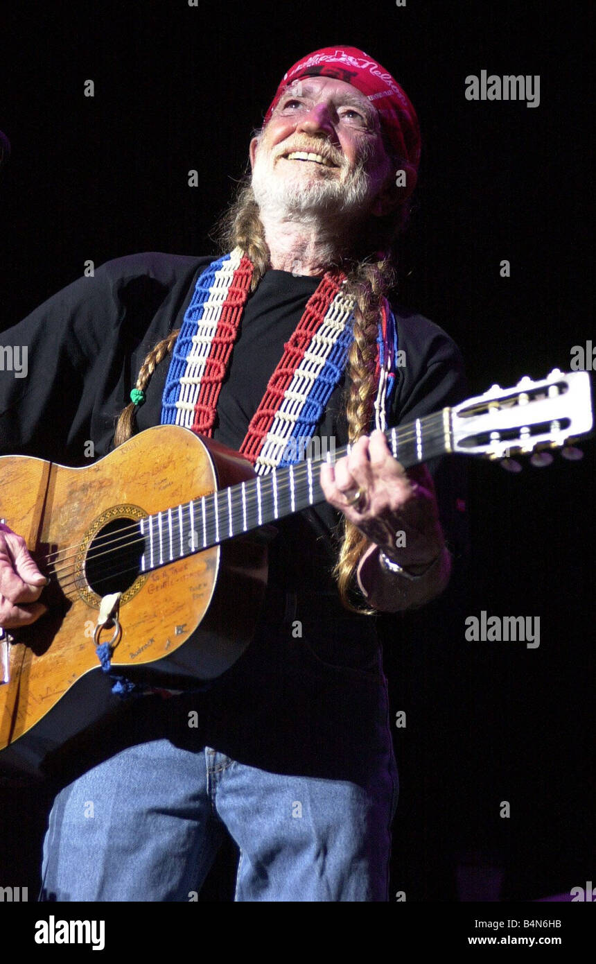Willie Nelson In Concert At The Waterfront Hall June 2000 67 year old country music legend Willie Nelson has Belfast - Stock Image