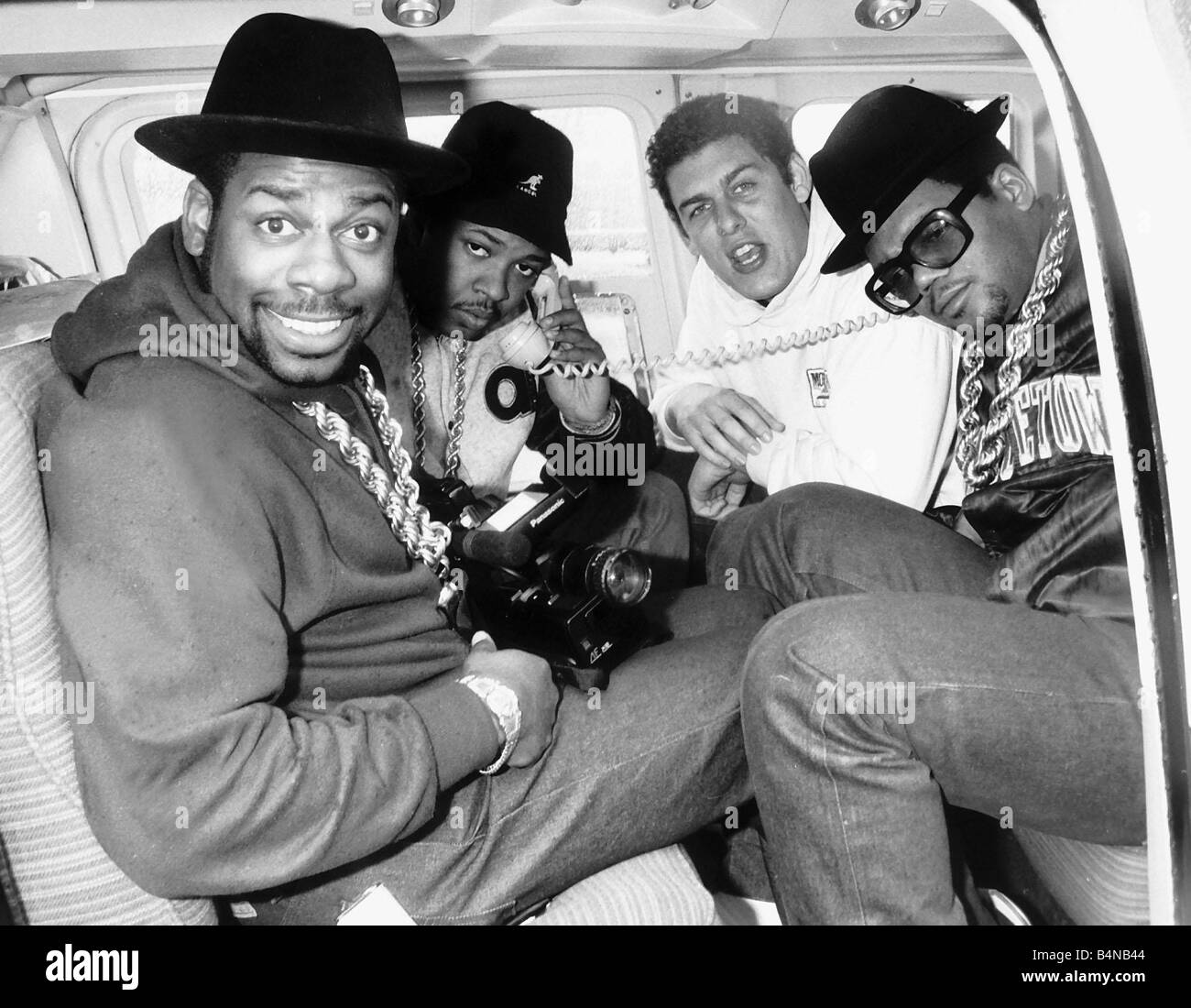 Run DMC American pop group rap inside helicopter 1986 - Stock Image