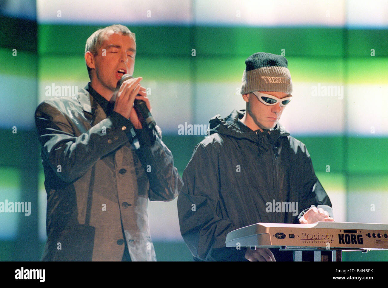 The Brit Awards February1996 The Pet Shop boys performing - Stock Image