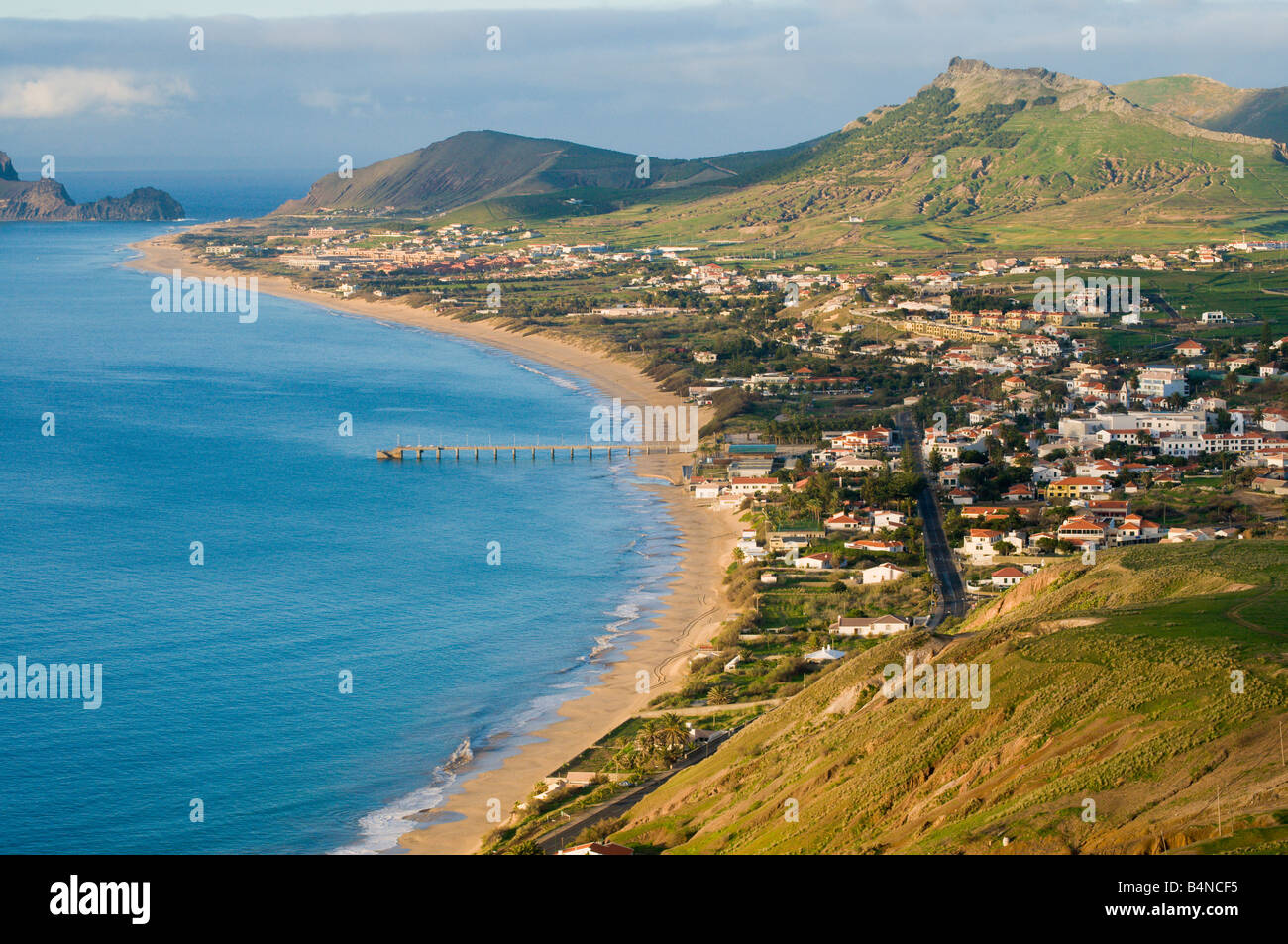View over beach on Porto Santo the neighbouring island to Madeira - Stock Image