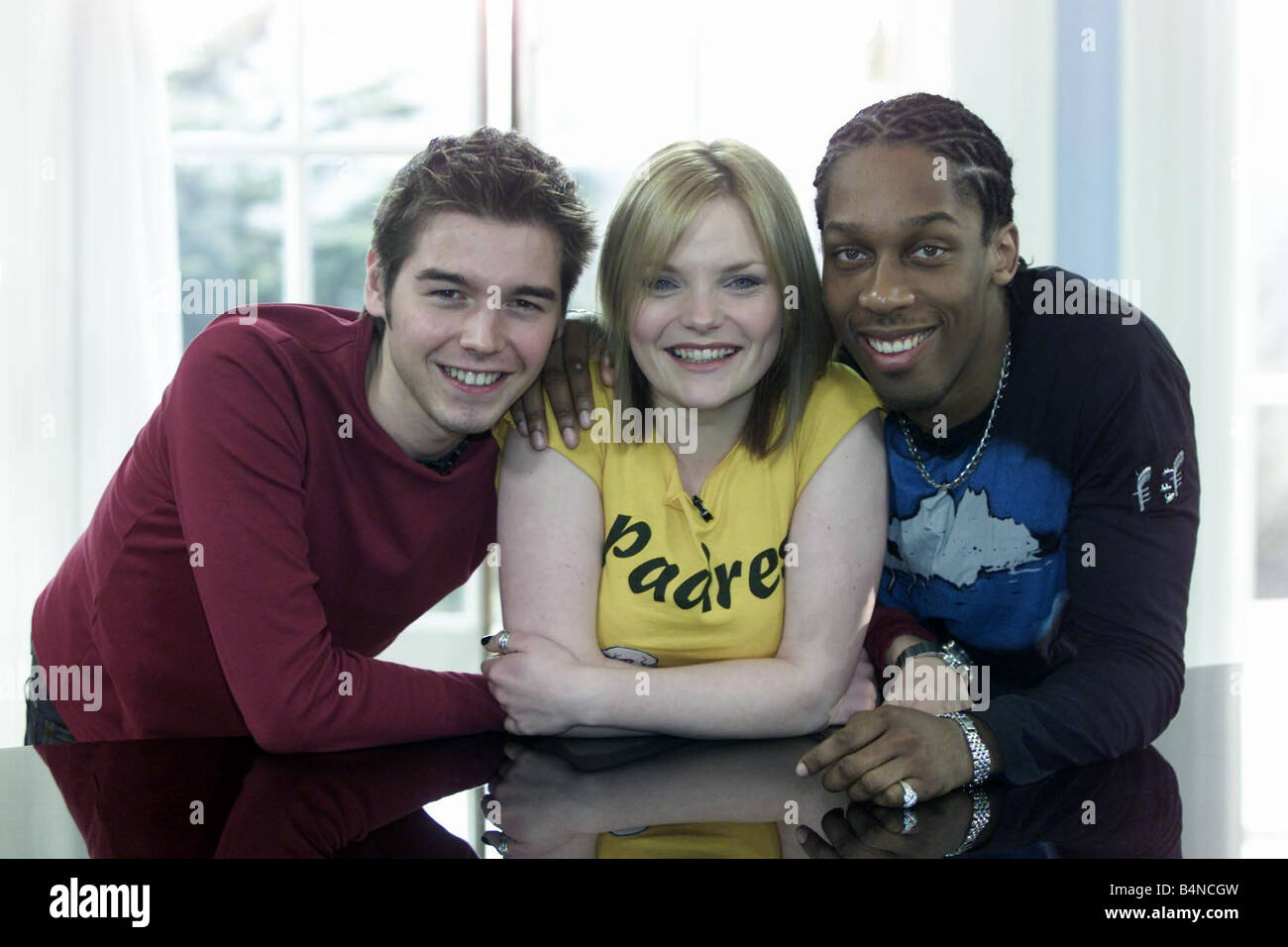 Fame Academy Finalists from left to right David Sneddon aged 24 Sinead Quinn aged 22 and Lemar Obika aged 24 December - Stock Image