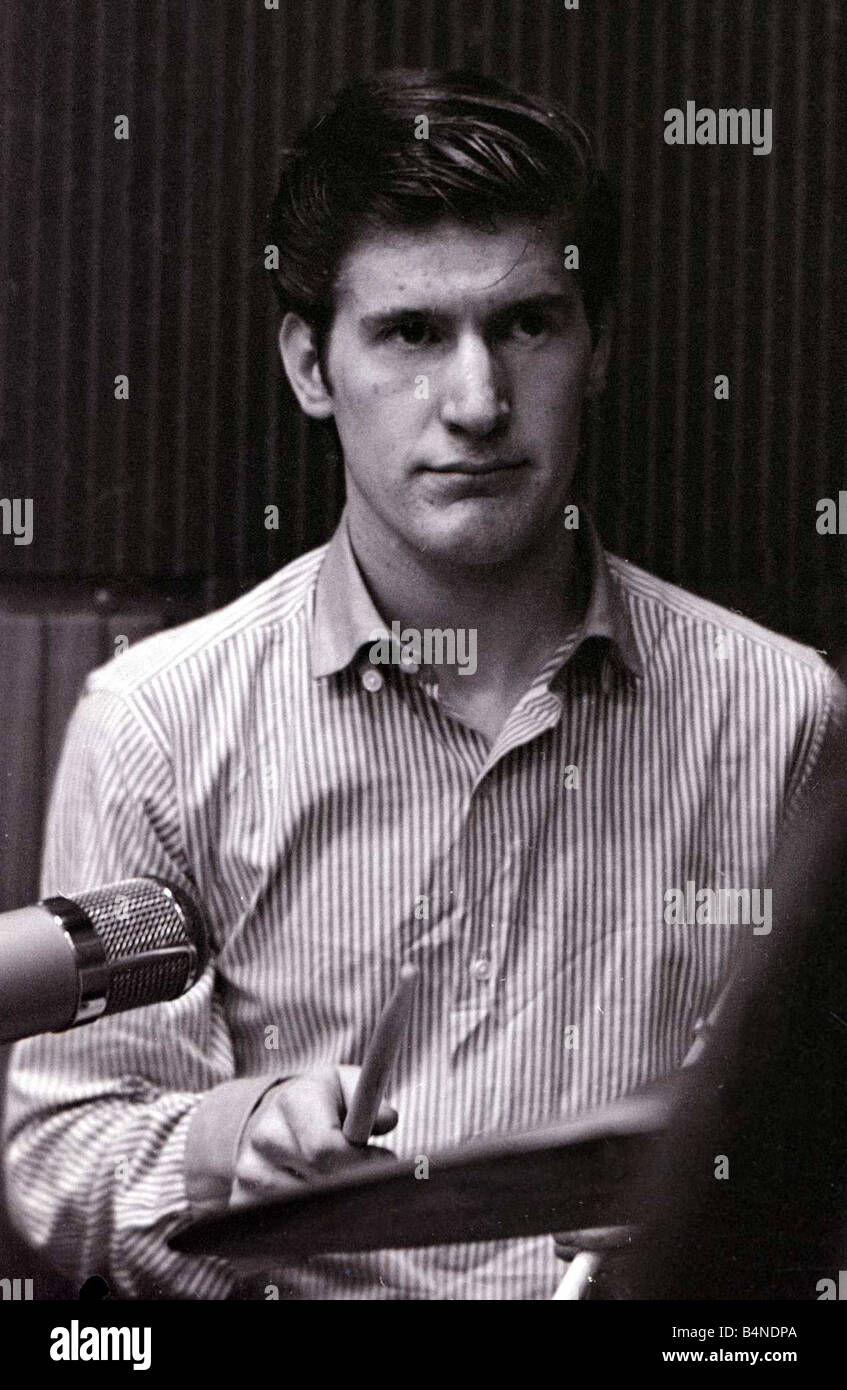 Chris Curtis of the Mersey pop group The Searchers seen here in the recordong studio October 1963 1960s - Stock Image