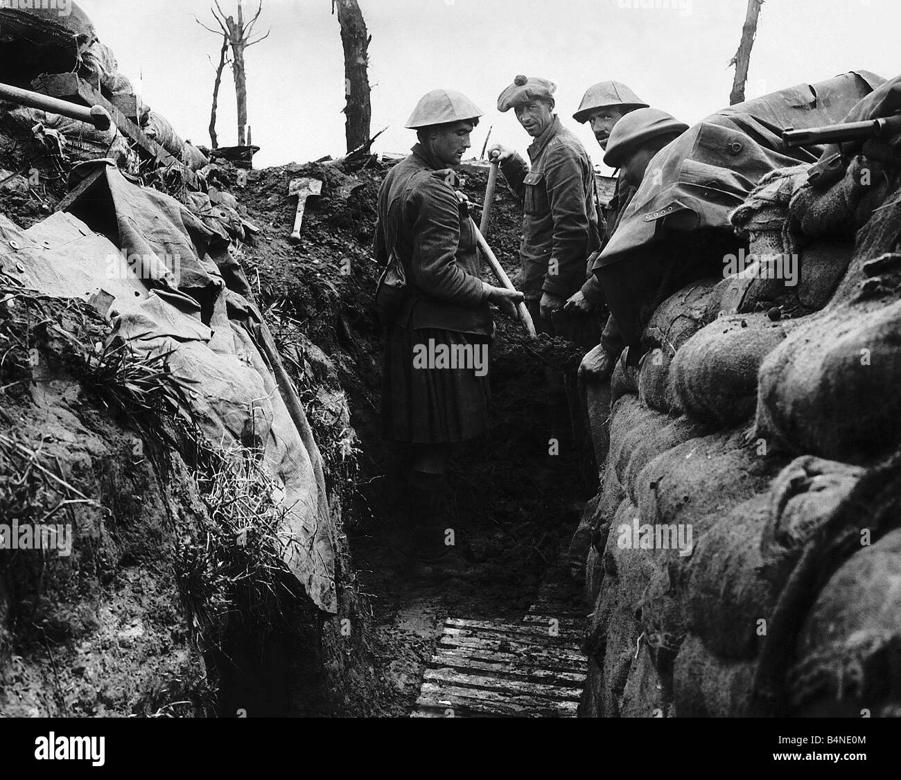 Canadian soldiers in the trenches on the Western Front July 1916 Stock Photo
