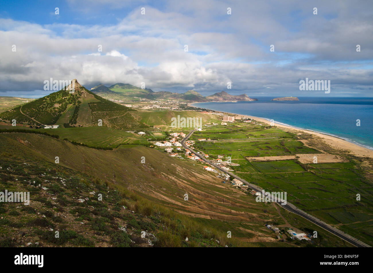 View over Porto Santo the neighbouring island to Madeira - Stock Image