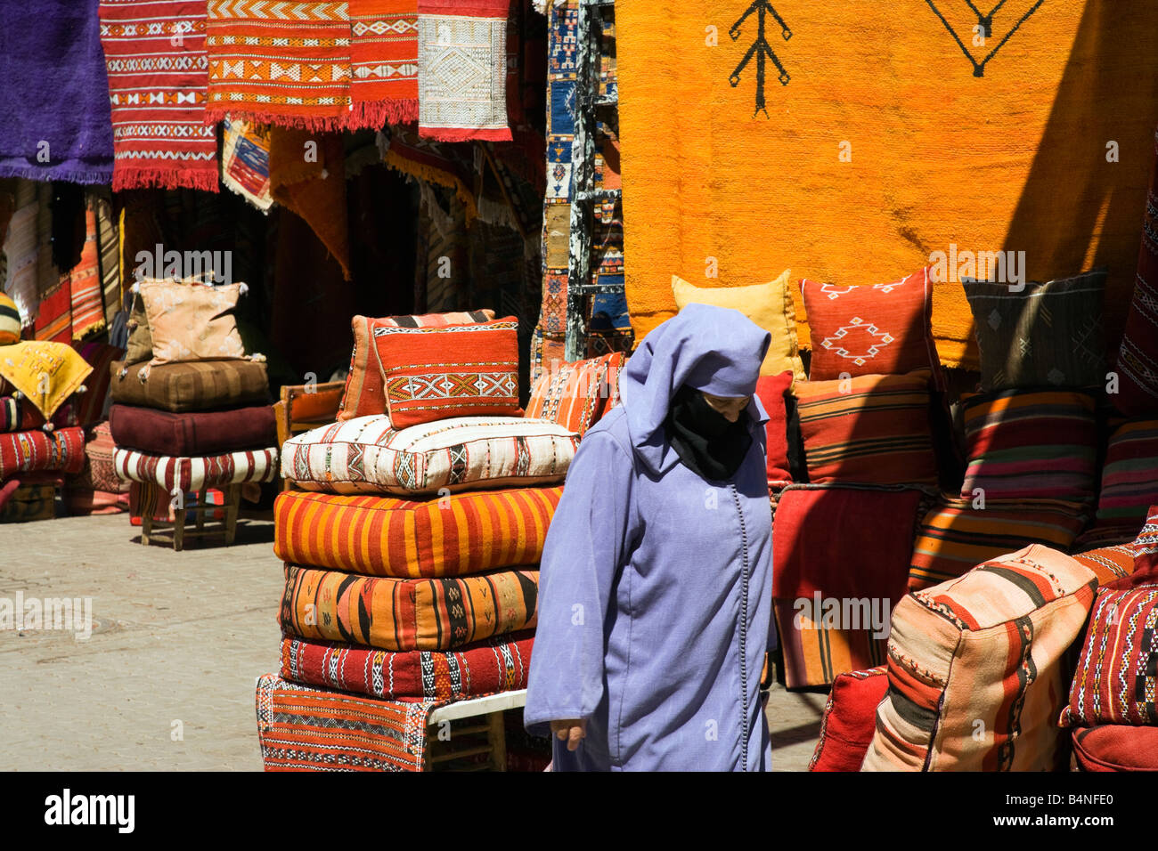 Shop selling Moroccan rugs and carpets - Stock Image