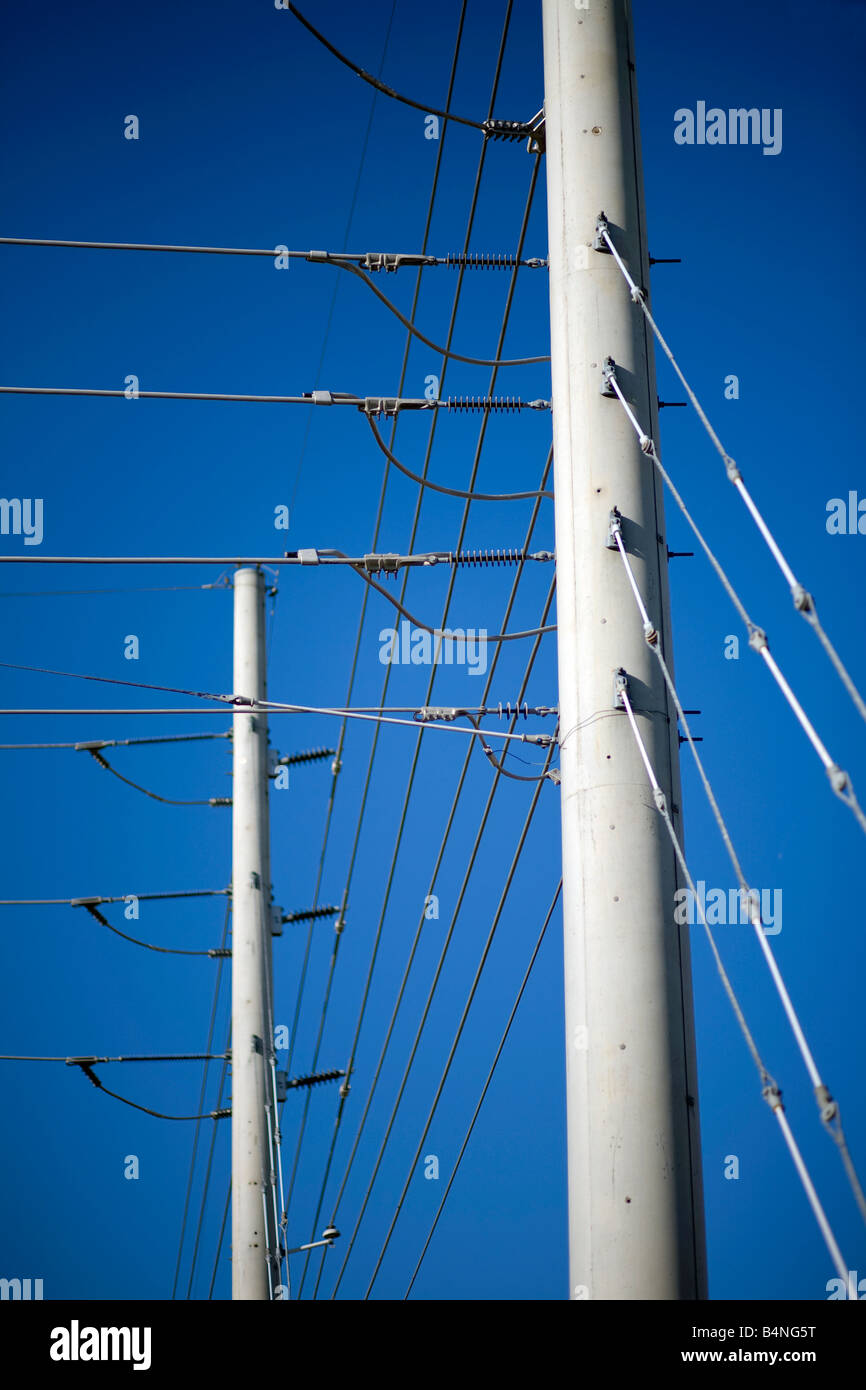 Utility poles and electricity lines in Rogers, Arkansas, U.S.A. - Stock Image