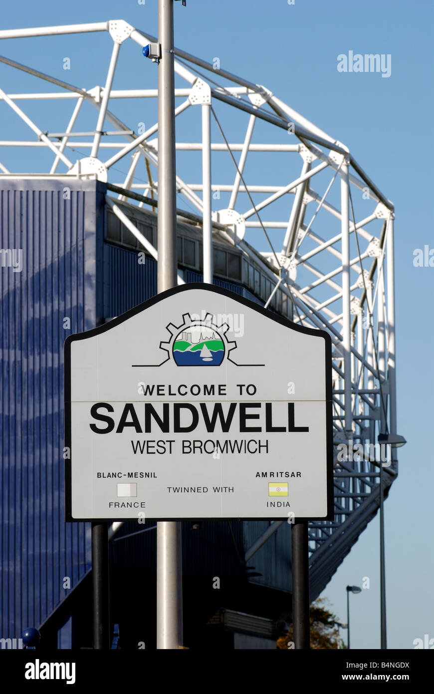 Welcome to Sandwell sign with The Hawthorns football stadium behind, West Midlands, England, UK - Stock Image