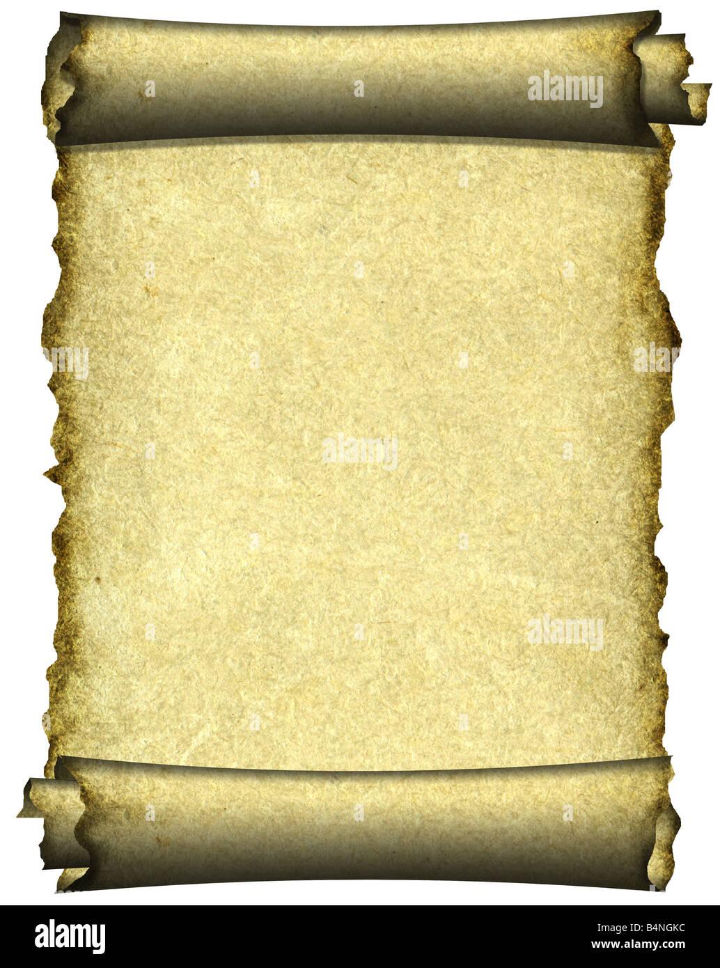 Manuscript burnt rough roll of parchment paper texture background - Stock Image