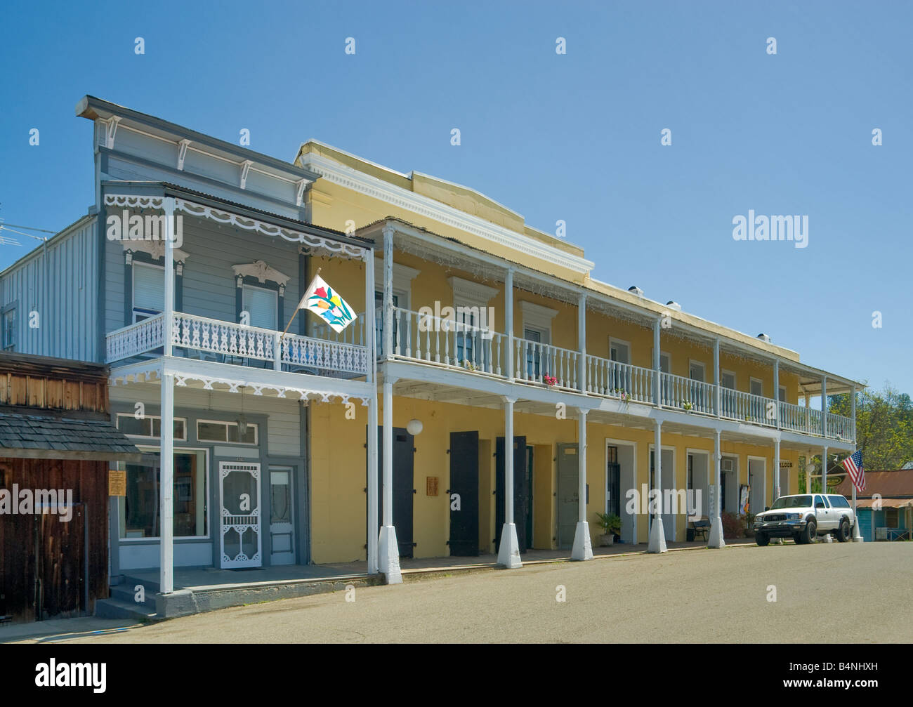 Historic Hotel Leger in Mokelumne Hill Gold Country California USA - Stock Image