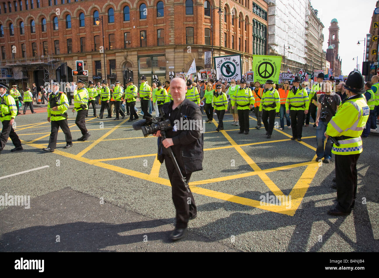 Police and Anti-War Protestors at Labour Party Conference Manchester Lancashire England UK United Kingdom GB Great - Stock Image