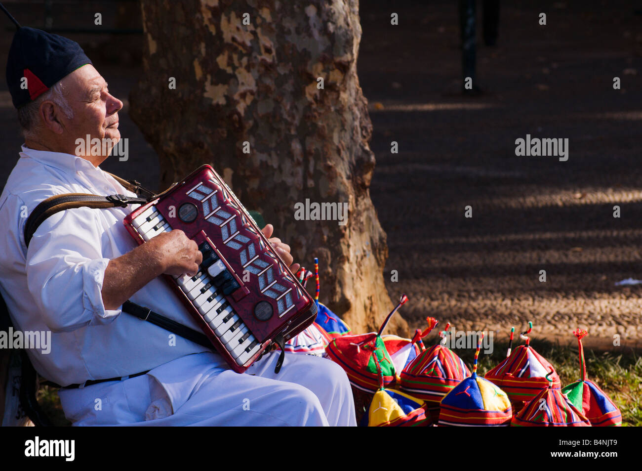 Accordionist and hat seller at Monte Funchal Madeira - Stock Image