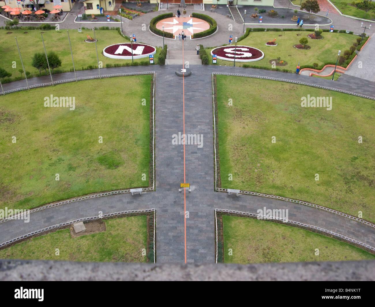 The equator line Äquator aequator QUITO ECUADOR border bound boundary line Quito Ecuador capital, city, outside, - Stock Image