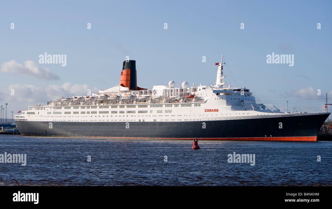 The QE2 docked at North Shields on the river Tyne on its farewell tour of the UK. - Stock Image