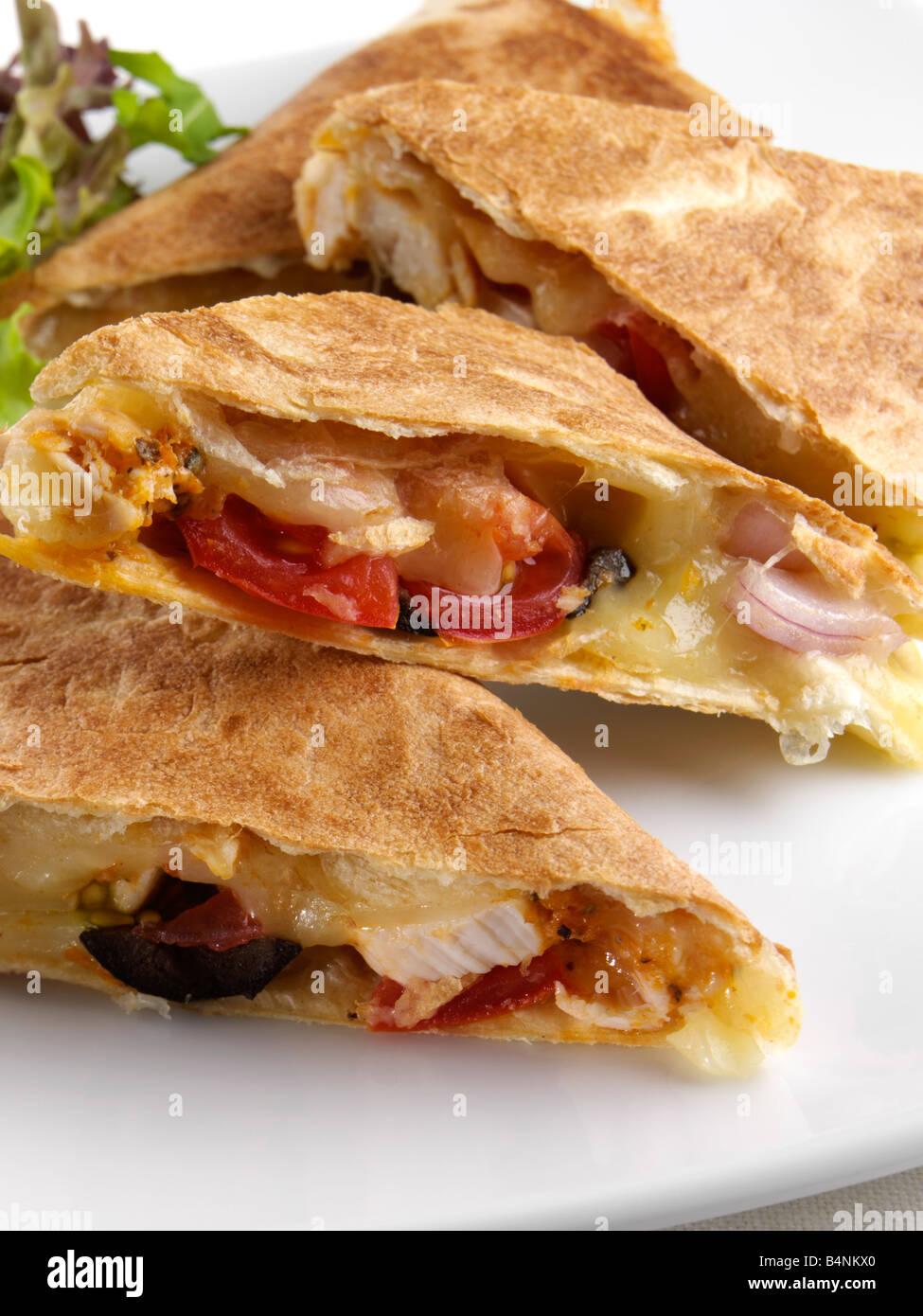 Chicken quesadillas Mexican editorial food - Stock Image