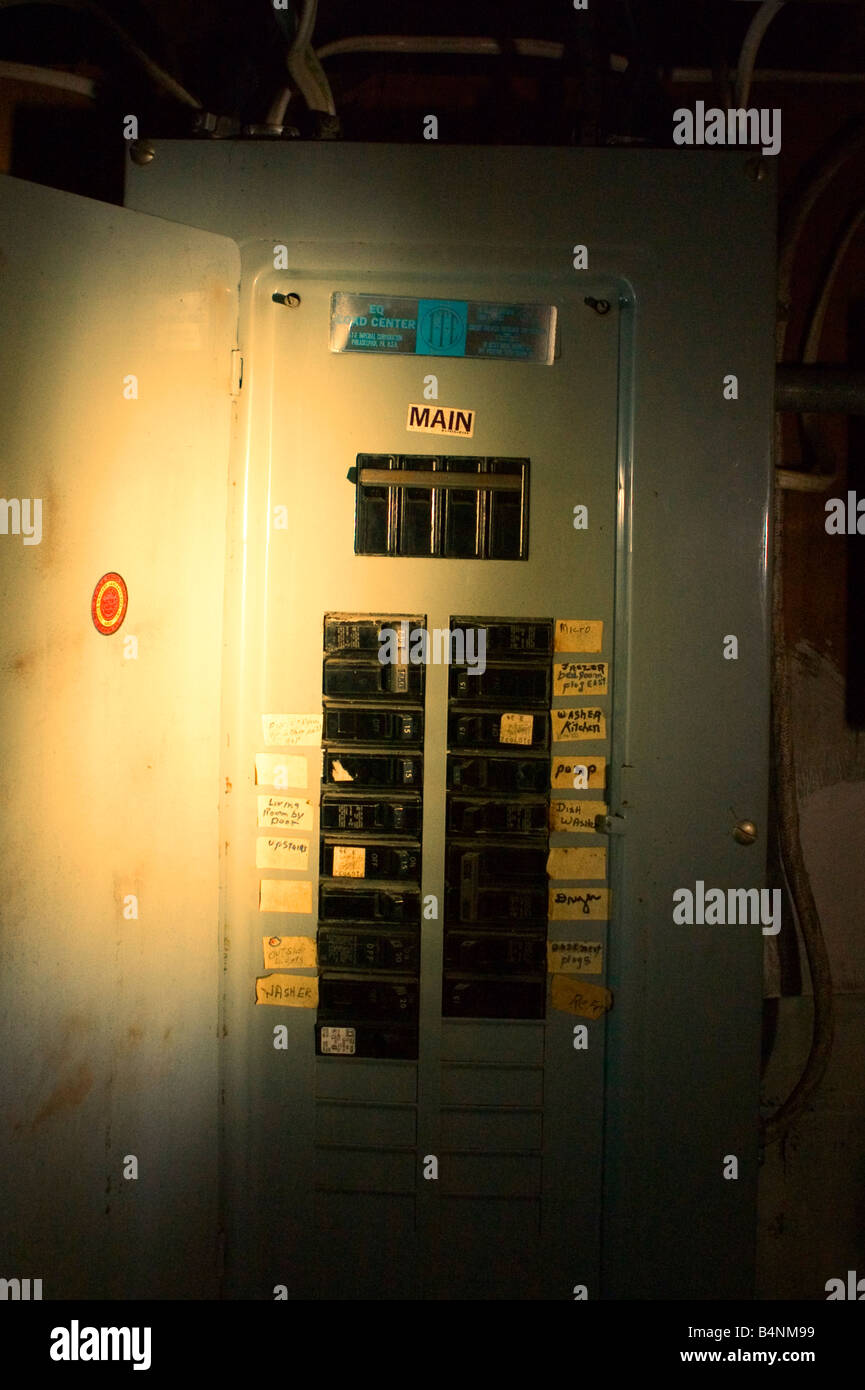 Electrical Circuit Breaker Fuse Box Stock Photos Have A Does An Is Illuminated With Flash Light Image