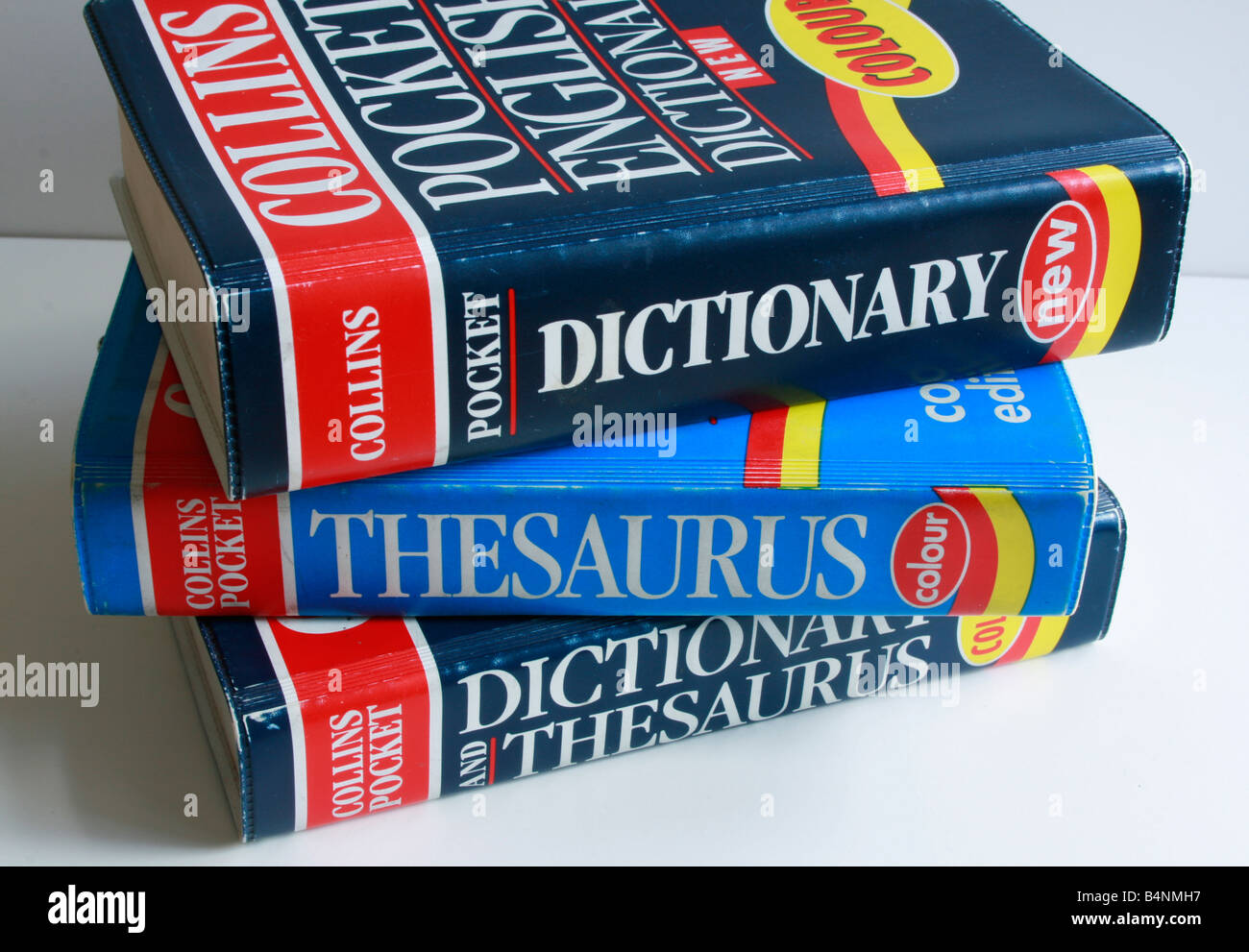 Pocket sized dictionary, and thesaurus' are piled one on top