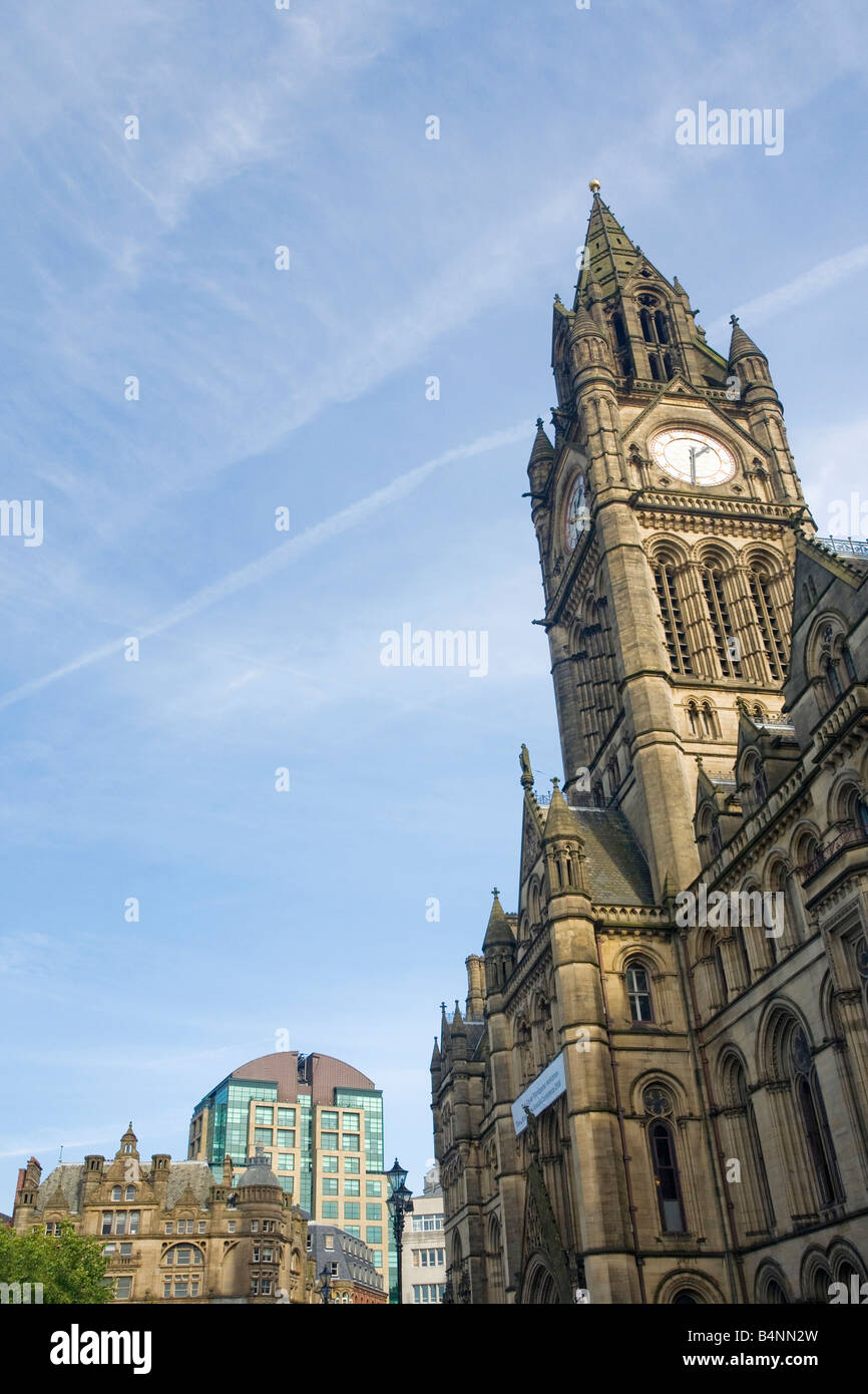 Town Hall in Albert Square Manchester city centre Lancashire England UK United Kingdom GB Great Britain British - Stock Image