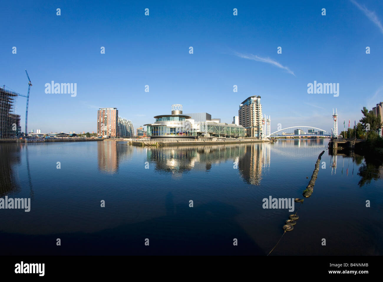 Lowry Centre Salford Quays in late evening sun sunshine in summer Manchester Lancashire England UK United Kingdom - Stock Image