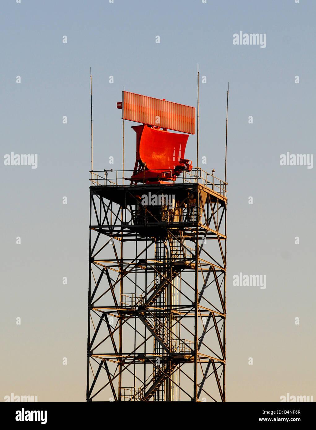 A radar tower at an airport - Stock Image