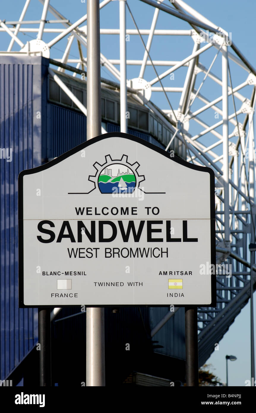 Welcome to Sandwell sign with The Hawthorns football ground behind, West Midlands, England, UK - Stock Image