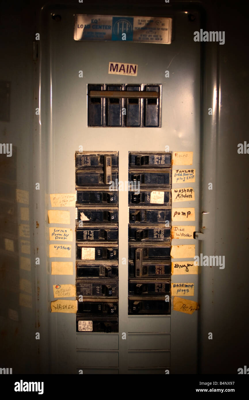 Circuit Breaker Box Stock Photos Images An Electrical Is Illuminated With A Flash Light Image