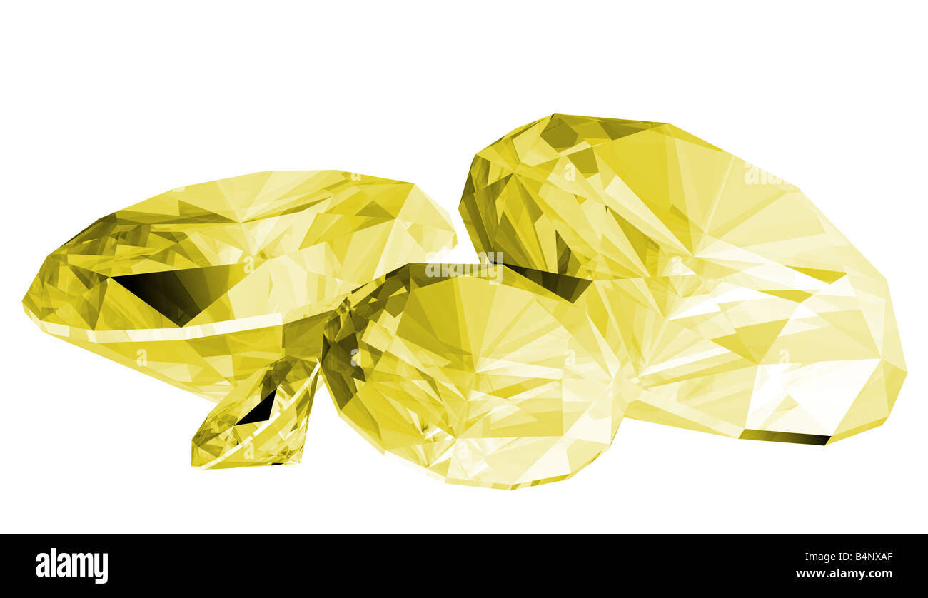 A 3d illustration of a citrine gem isolated on a white background - Stock Image