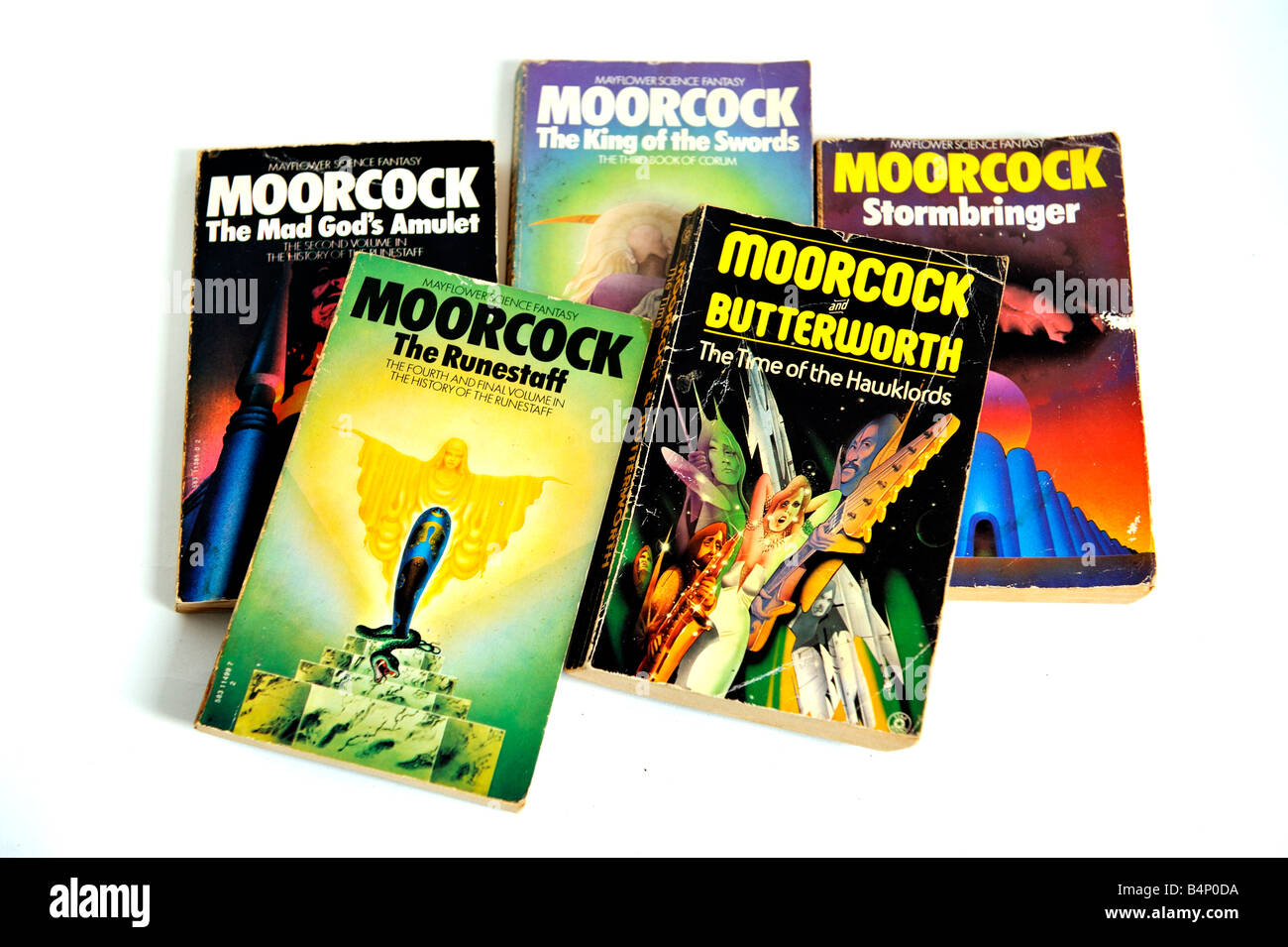Michael Moorcock books paperbacks soft cover Stormbringer The Time of the Hawklords King of the Swords The Runestaff - Stock Image