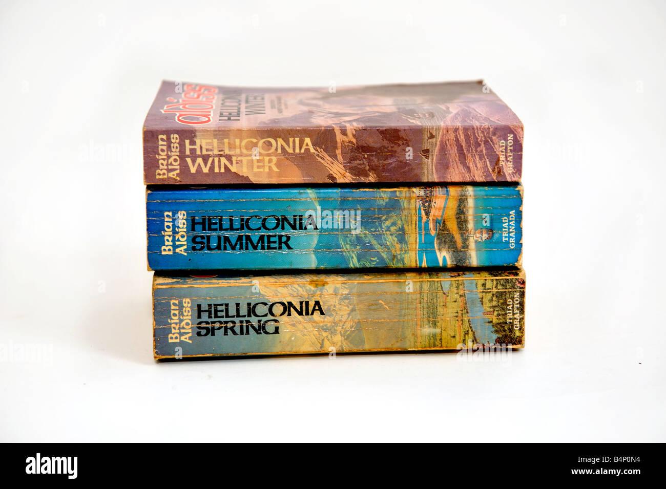 Brian Aldiss books paperbacks soft cover Helliconia Winter Helliconia Summer Helliconia Spring - Stock Image